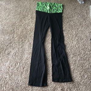 c0ad37ba90 Pants - Black Yogo Pants with Green Animal Print Band